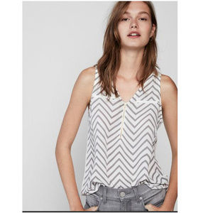 Express Tank Gray & White Chevron Stripe Sz Sm NEW